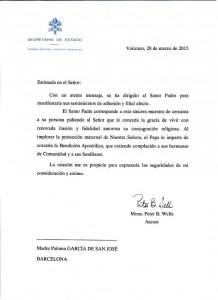 Carta con Bendición Apostólica del Papa Francisco