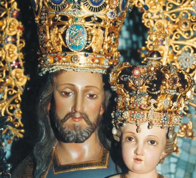 Solemnidad san josé de la montaña imagen en primer plano de la cara de San josé y el niño con la corona original.