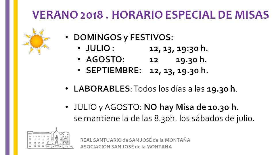 horarios de verano Real Santuario San José de la Montaña