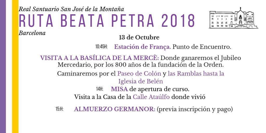 ruta beata petra 2018 barcelona