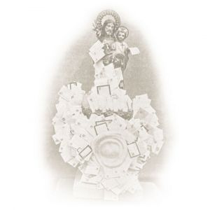 imagen antigua de San José con cartas
