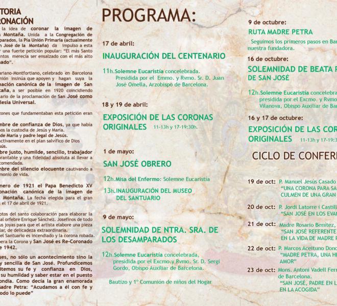 Programa del centenario de la coronación canonica de san jose