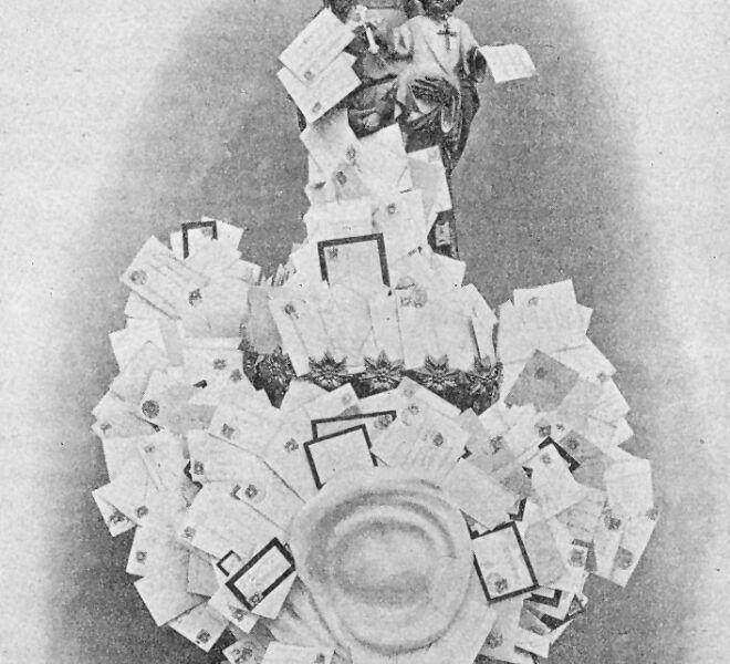 Tradición en Barcelona. La entrega de cartas a San José de la Montaña. Imagen de San José como cartero, creada para la revista La Montaña de San José.